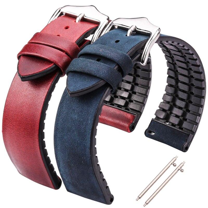 HENGRC воловья кожа и силиконовый ремешок браслет 18 20 22 мм Мужские и женские водонепроницаемые дышащие Ремешки для наручных часов аксессуары д...