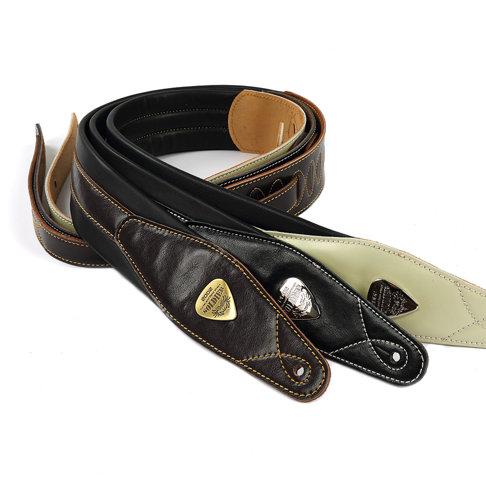 Soldier High-End Real Leather Padded Guitar Strap for Electric Acoustic Guitar Bass Adjustable Belt Black Browm White Color acoustic electric guitar strap woven cloth leather end police line do not cross width 5cm 2 length 92 154cm 36 60 yellow black