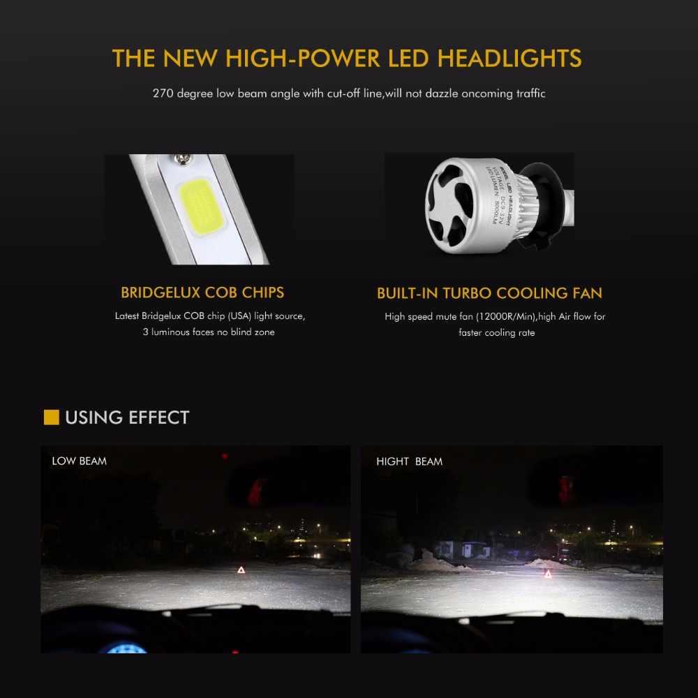 Oslamp S2 72W 8000LM Car LED Headlight Bulbs H4 Led Bulb H7 H11 H13 9005 9006 COB Chips Hi lo Beam Auto Lamp 12V 24V 6500k 4300K