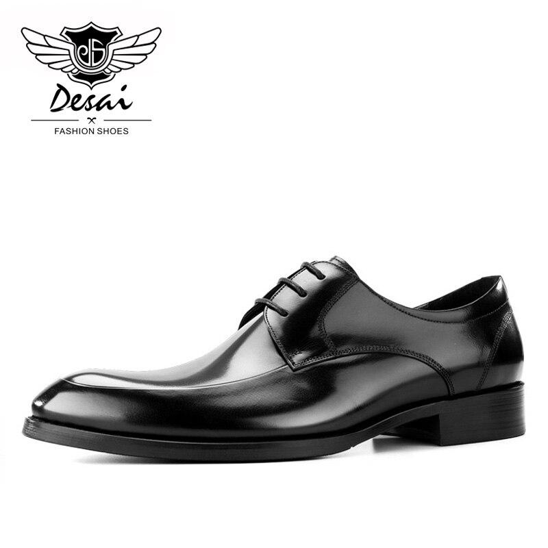 2019 ฤดูร้อนรองเท้าสไตล์ใหม่ผู้ชาย Pointed Toe ธุรกิจรองเท้าสบายๆหรูหราหนังแท้รองเท้าหนังผู้ชายอย่างเป็นทางการ-ใน รองเท้าทางการ จาก รองเท้า บน   2