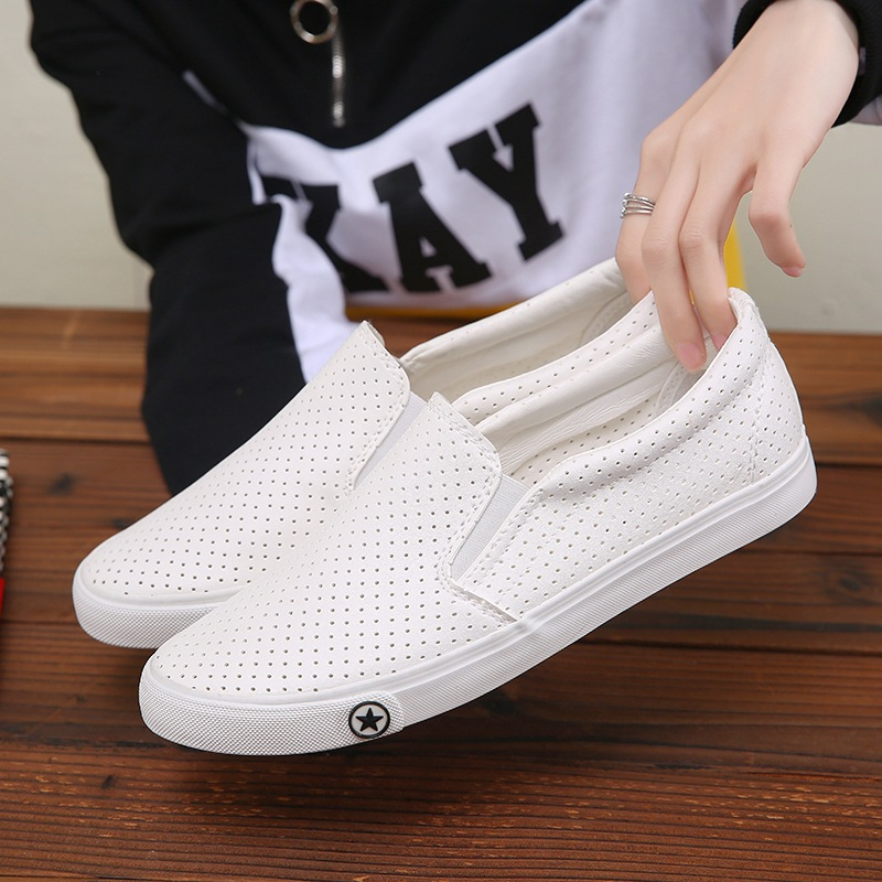 Solid White Black PU Leather Shoes 2018 New Fashion Hollow Summer Men's Flats Men Casual Shoes Slip On Breathable Mens Sneakers mens thick sole shoes zipper casual shoes men flats soft pu leather black daily net leisure new fashion boat shoe xk103112