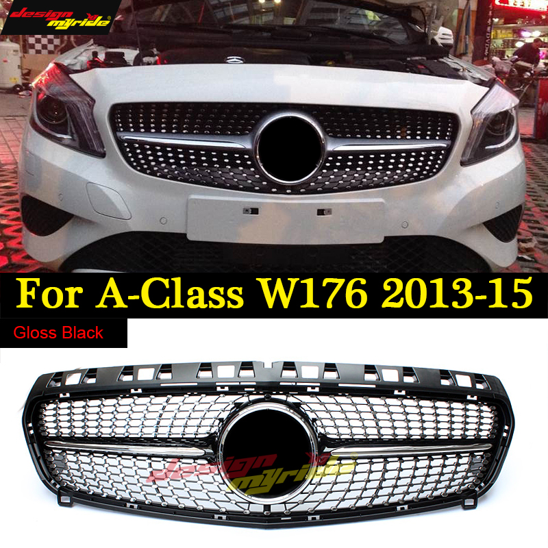 W176 Diamond Grille For Mercedes Benz A Class A180 A200 A250 Grilles Gloss Black Without Emblem