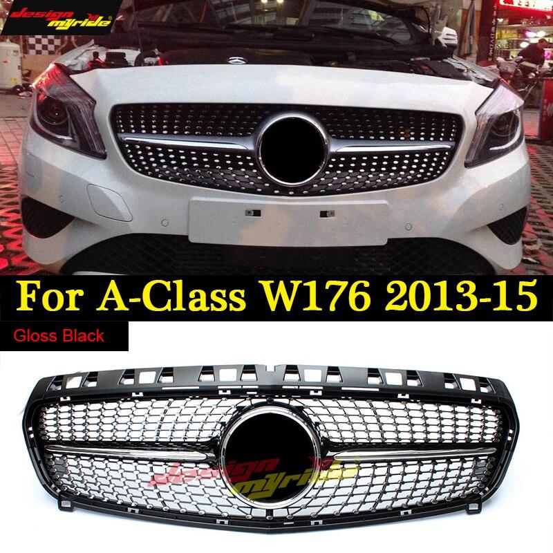 W176 calandre diamant pour Mercedes Benz classe A A180 A200 A250 Grilles noir brillant sans emblème Badge ABS remplacement 2013-15