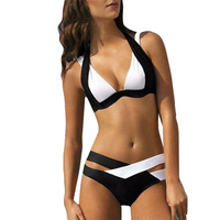 Sexy Bikini Vrouwen Badpak 2017 Zomer tops Beach Dragen Bikini Set Push Badmode Bandage Badpak Zwart-wit XL