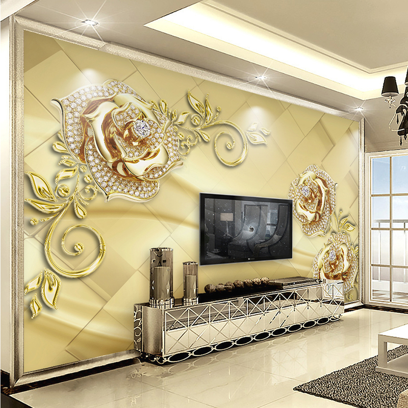 Wall mural 3d european style marble diamond jewelry flower for 3d mural painting tutorial