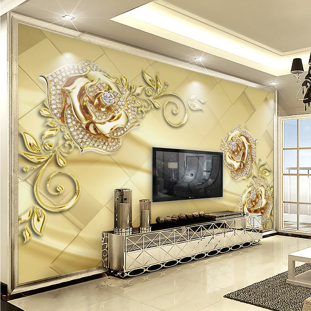 Wall Mural 3D European Style Marble Diamond Jewelry Flower High Quality  Non Woven Large Painting Part 33