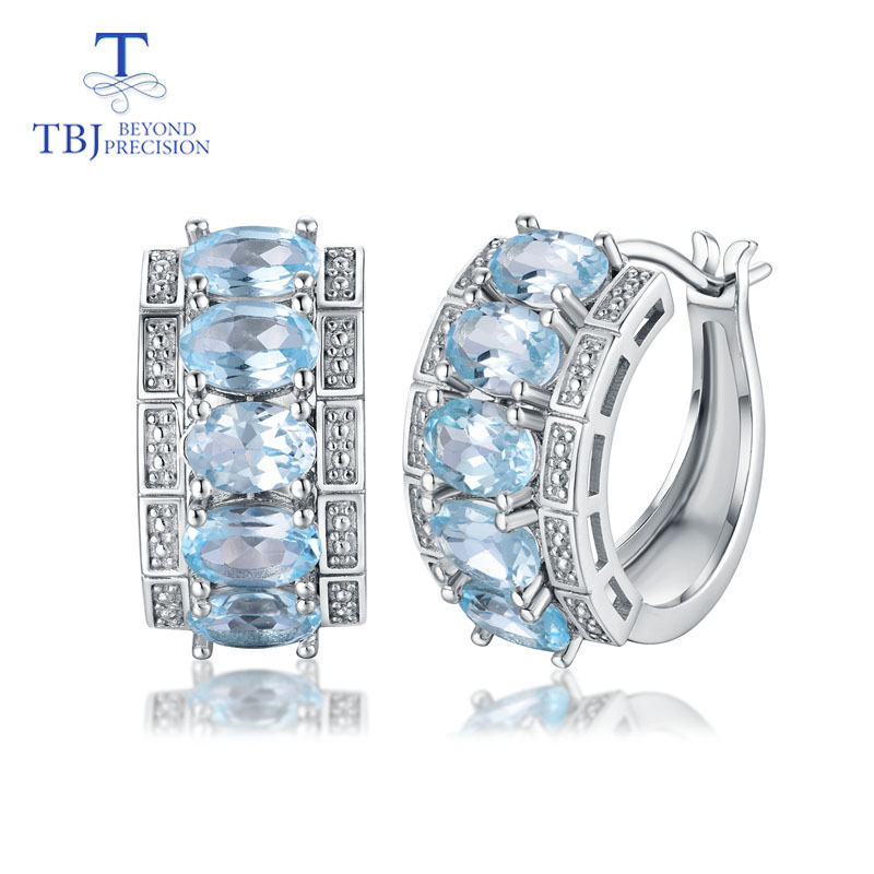 TBJ the lastest clasp earring 925 sterling silver with natural sky blue topaz oval 4 6