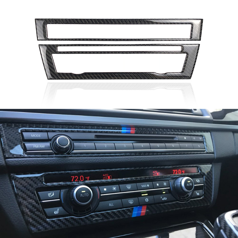 2pcs Carbon Fiber Center Air Conditioning CD Control Panel Cover Trim for BMW 5 Series F10
