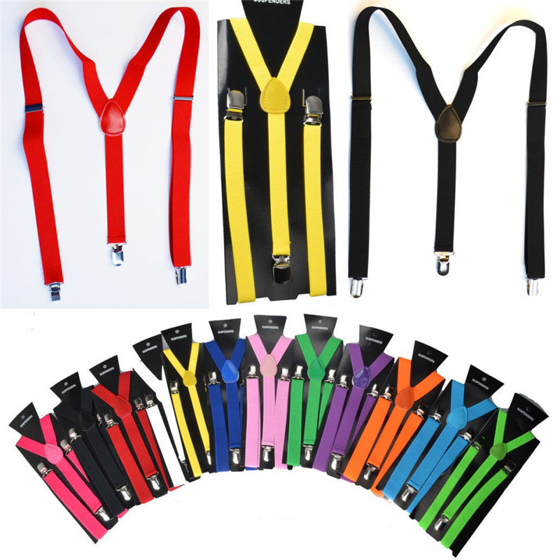 New Mens Womens Unisex Clip-on Suspenders Elastic Y-Shape Adjustable Colorful For Female Male Fashion Accessory