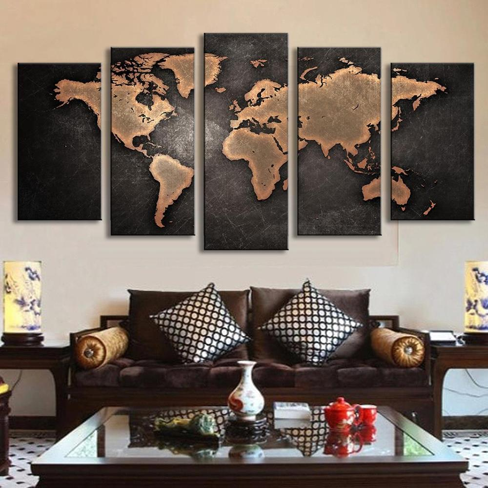 Free shipping 5 panel large HD printed oil painting world map canvas ...