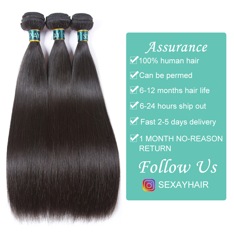 Image 4 - Sexay Brazilian Straight Hair Bundles With Closure Sliky Straight Human Hair 3 Bundles With Closure Brazilian Hair Weave Bundles-in 3/4 Bundles with Closure from Hair Extensions & Wigs