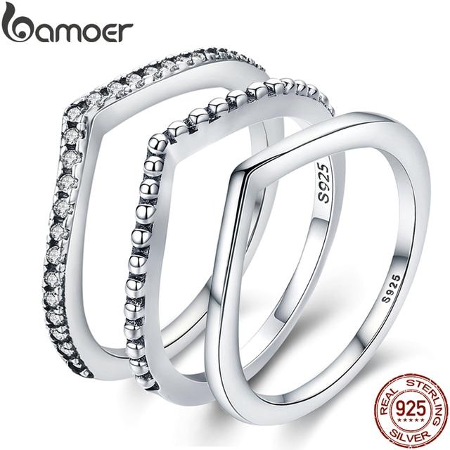 BAMOER 100% 925 Sterling Silver Water Droplet Clear CZ Finger Rings for Women We