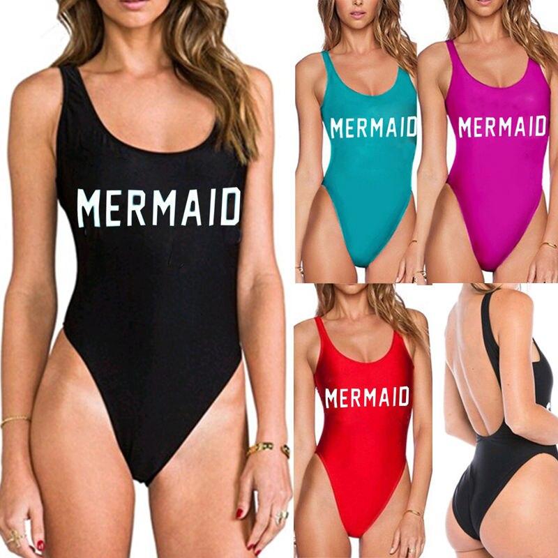 Sexy Womens One Piece Swimsuit Swimwear Bathing Monokini Push Up Padded Bikini Swimsuit Biquinis Word MERMAID