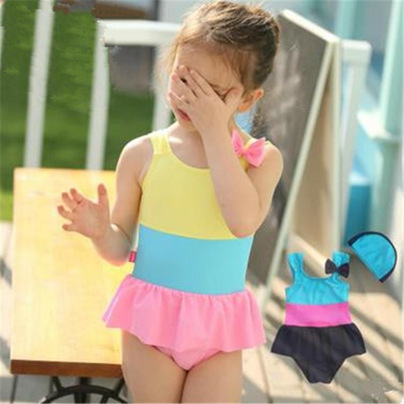 Girls One Piece Swimwear 2016 Summer Kids Patchwork Swimsuit Dress Baby Girl Bow Bathing Suits Child Sports Bodysuit