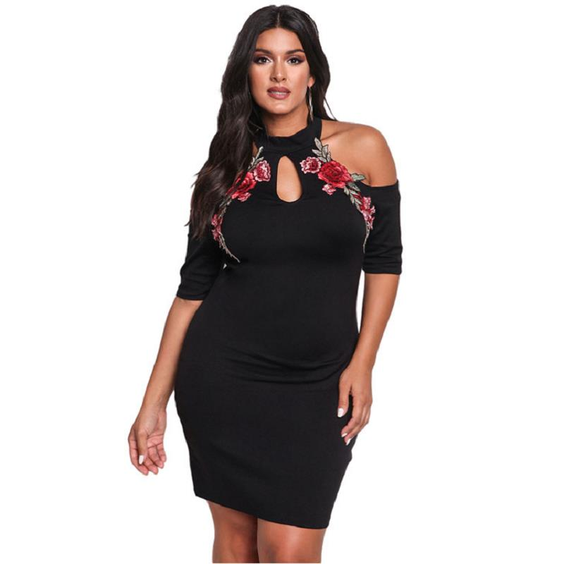 Adogirl Rose Applique Embroidery Flower Black Cold Shoulder Plus Size Dress XXXL Bodycon Large Sexy Nightclub Mini Dresses in Dresses from Women 39 s Clothing