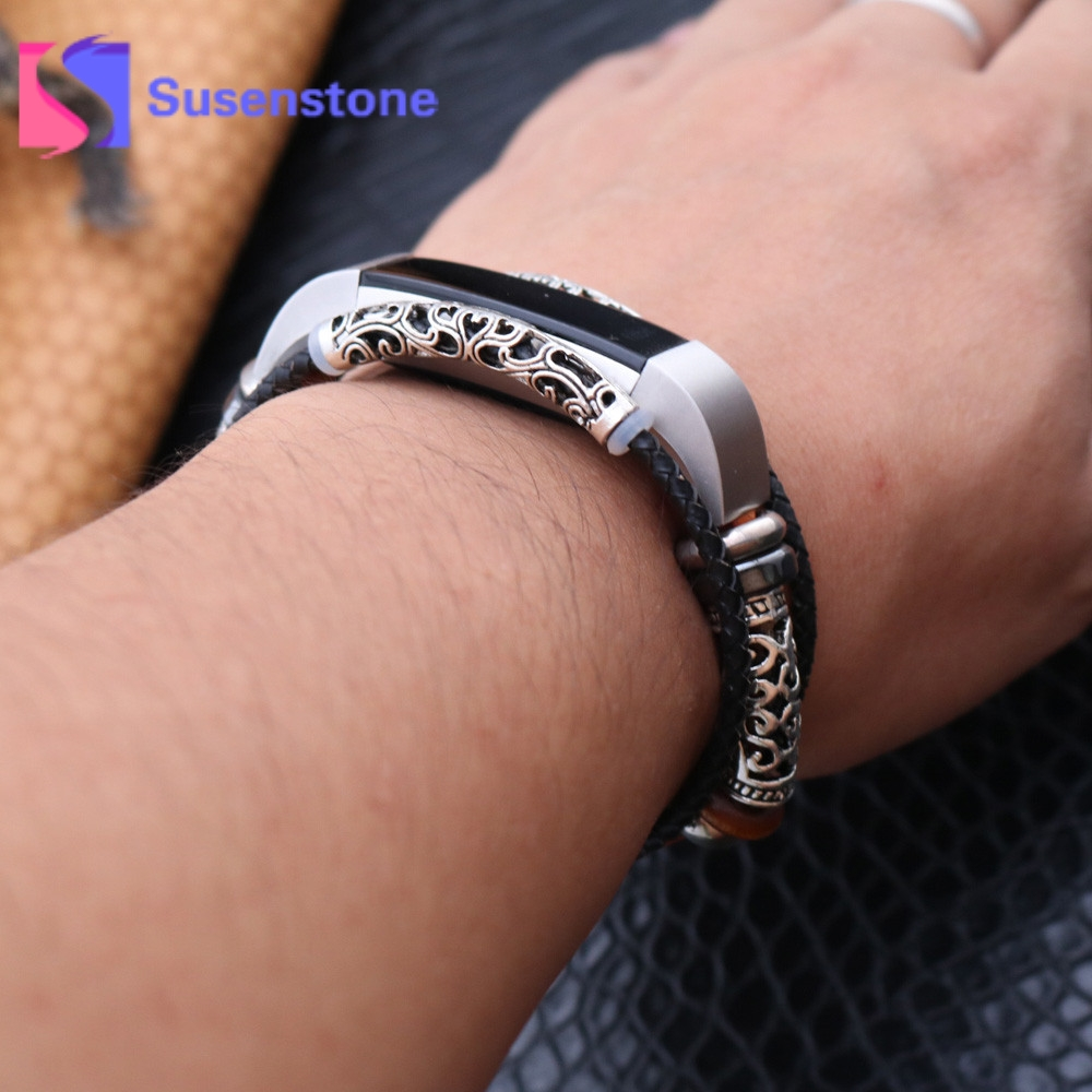 site professionnel Super remise acheter US $7.79 12% OFF|1pcs Replacement Leather Wristband Woven Braided Bracelet  Fashion Knit Handmade Strap Bracelets for Fitbit Alta/Fitbit Alta HR-in ...