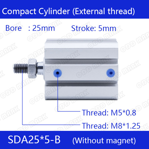SDA25*5-B Free shipping 25mm Bore 5mm Stroke External thread Compact Air Cylinders  Dual Action Air Pneumatic Cylinder 5% 25