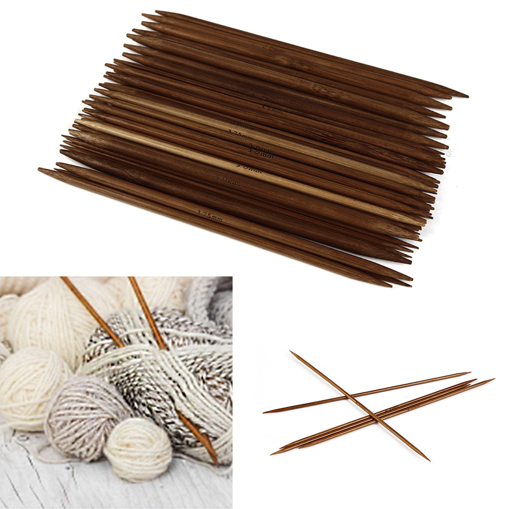 55Pcs/Set 11 Sizes 5'' 13cm Carbonized Bamboo Crochet Knitting Needles Set Double Pointed Craft Knit Tools