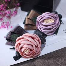 ФОТО imitation silk fabric flower with stamen pistil spring hair clip for women high quality large flower barrettes for girls