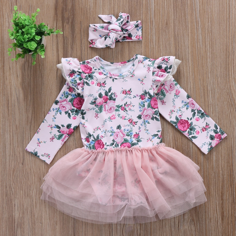 Newborn Infant Baby Girl Floral Clothes Romper Tops Pants Outfit New Year Party