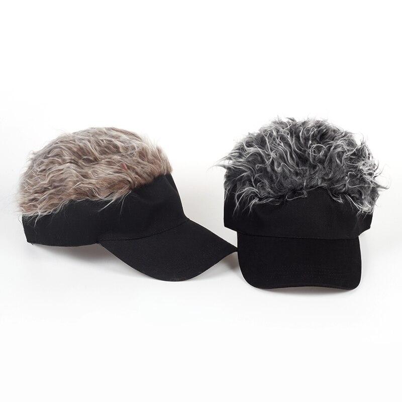 2017 new Adjustable Baseball Hat Man's Women's Toupee Wig Funny Hair Loss Cool Golf Caps Novelty Baseball Cap