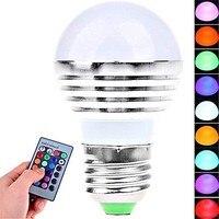 5PCS E26/E27 3W LED 180 LM RGB Remote Controlled Globe Bulbs AC 85 265V
