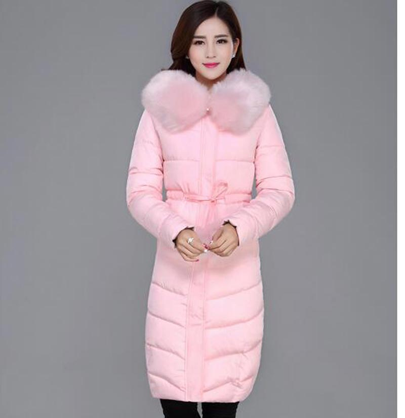 ФОТО 2016 winter cotton-padded coat long women clothing slim big faux fur collar jacket hooded sashes wadded outerwear kp1238