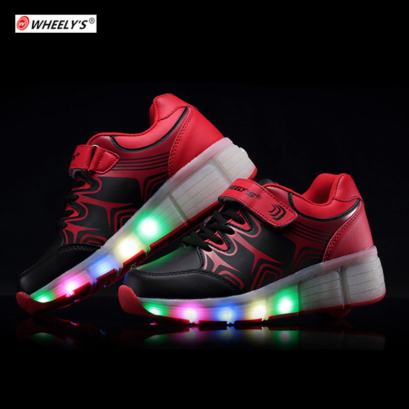 Kids Glowing Fashion Brand Kids Shoes LED light up Children Shoes with Wheels for Girls Boys tenis sneakers rollers skate