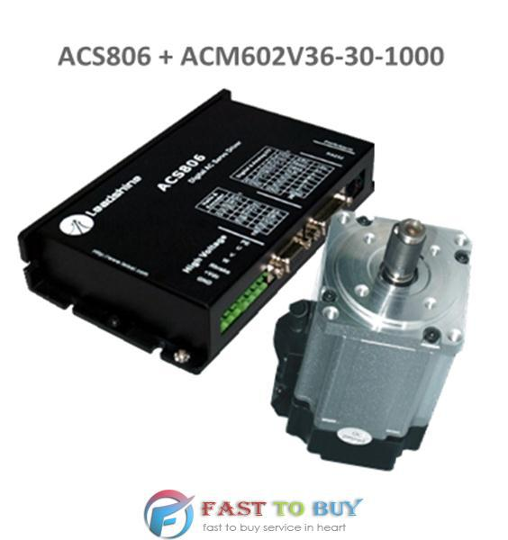 Leadshine 200W brushless AC Servo Drive and Motor Kit ACS806 + ACM602V36-30-1000 New ac servo motor 36 80vdc 8 4a 25a for servo drive acs806 brushless ac servo motor acm602v36 01 2500
