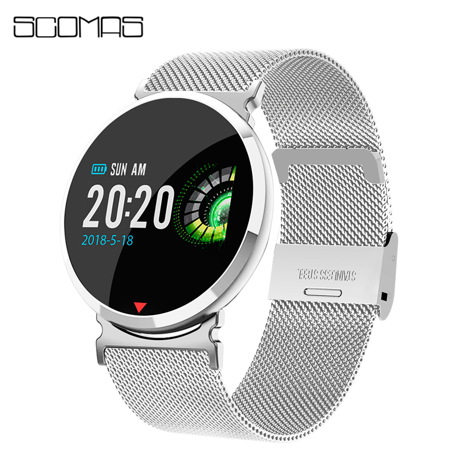 SCOMAS Fashion Smart Watch OLED Display Heart Rate Monitor Blood Oxygen Sports Relogio Smartwatch For Men Women