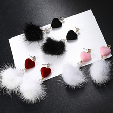 цена на Sale Heart Pearl Korean Earrings for women PomPom Ball Drop Earrings Fashion Jewelry Graceful Party Gifts