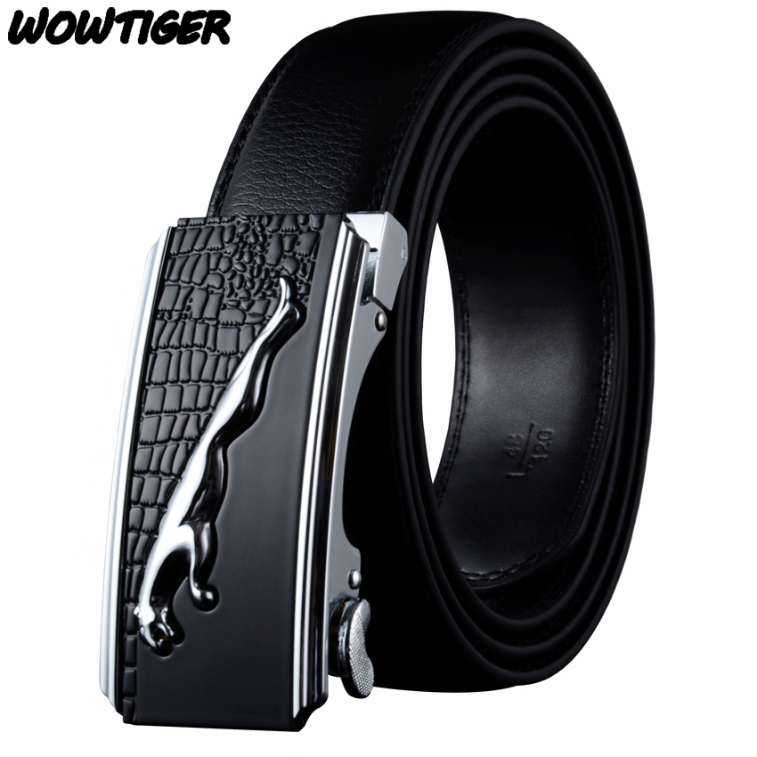 WOWTIGER New Fashion Men's Business Genuine Luxury Leather Belt With Automatic Buckle