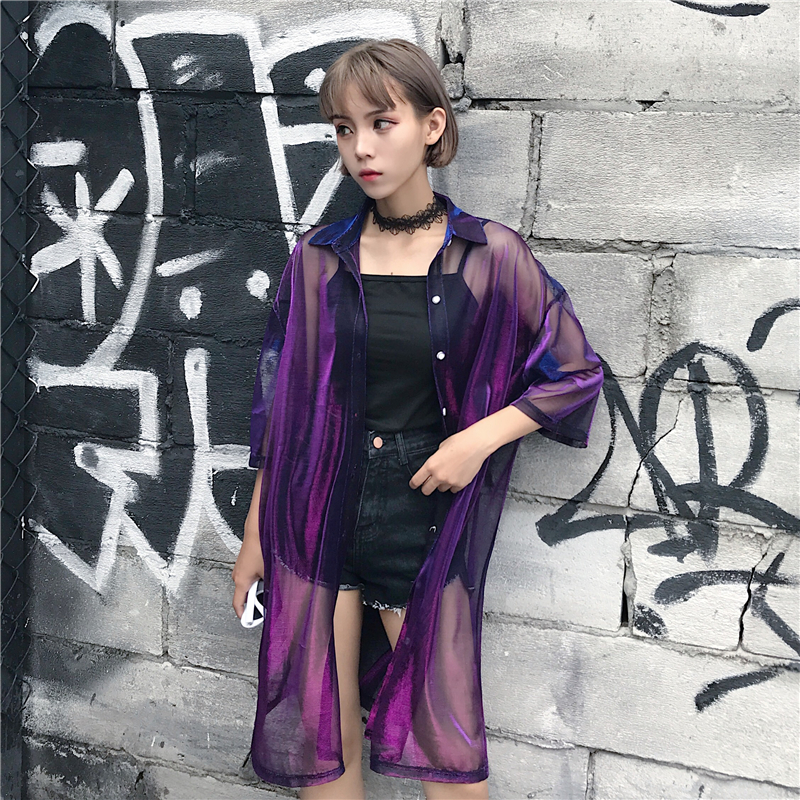 2018 New Harajuku Blouse Women Transparent Mesh Laser Sunproof Vintage Summer Women Blouse Blusas Long Shirt Topsroupa Feminina