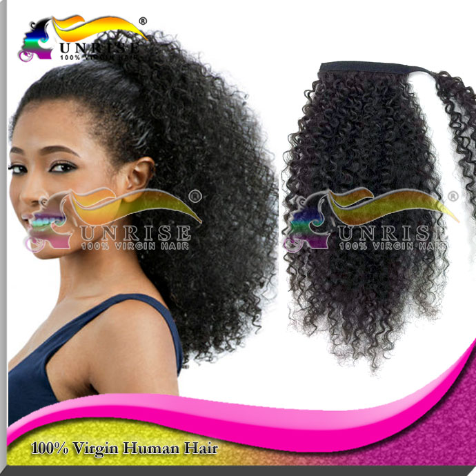 Clip In Curly Drawstring Ponytails Human Hair Extensions,Peruvian Hair -9469