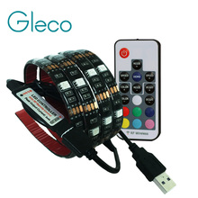 5V USB LED strip 5050 RGB flexible light 1M IP65 Waterproof TV Background Lighting Strip with 17Key RF RGB Remote controller