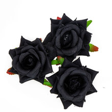 7cm Large Real Touch Artificial Black Flowers Heads Fake Silk Roses 10Pcs Diy Wedding Party Fabric Flower Bouquet