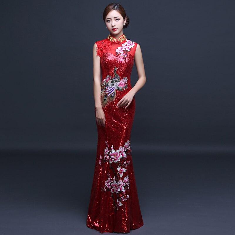 2017 Red Cheongsam Sexy Long Qipao Organza Chinese Traditional Dress Wedding Dress Evening Dress Oriental Style Dresses