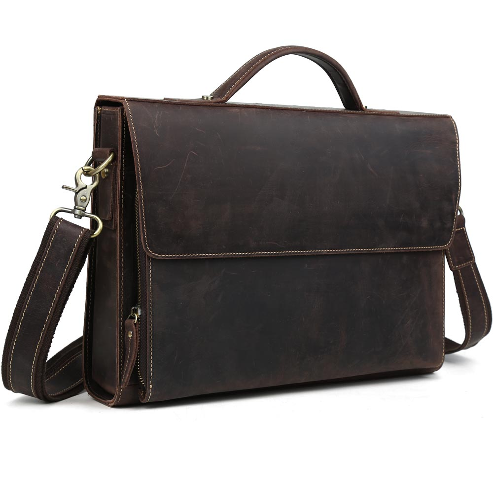 Tiding Mens Real Red Color Leather Briefcases Carry On