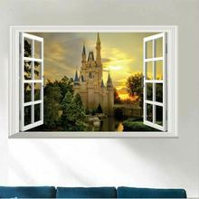New 3D Castle Wall Sticker Window Adhesive Decor PVC Artistic Removable 40x60cm