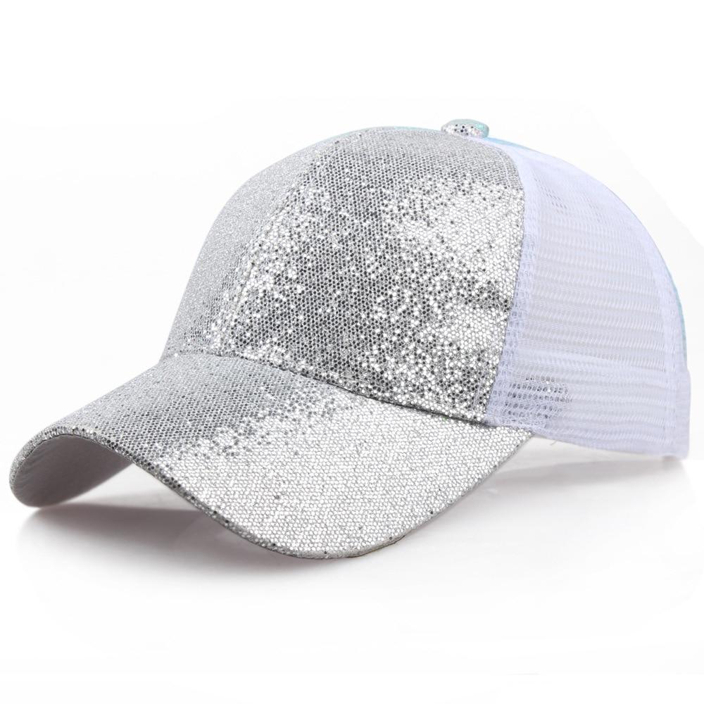Women Baseball Hat Mesh Sequin Shiny Bun Female Backpack Hat for Women Adjustable Cap Streetwear Gorras Para Hombre Pink Hats