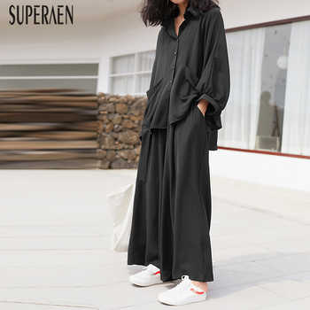SuperAen Pluz Size for Fashion Women's Sets Spring New 2019 Casual Women Shirt Solid Color Wide-leg Pants Two-piece Female - DISCOUNT ITEM  21% OFF All Category