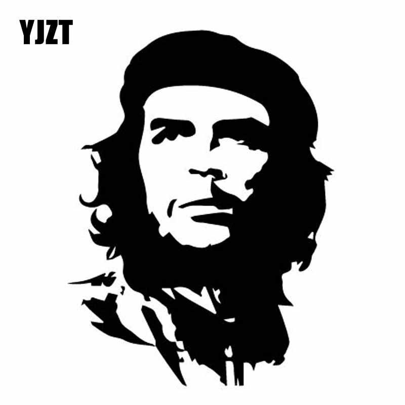 YJZT 11CM*14.8CM Serious Celebrity Che Guevara Car Vinyl Decal Decorate Sticker Black/Silver C27-0110