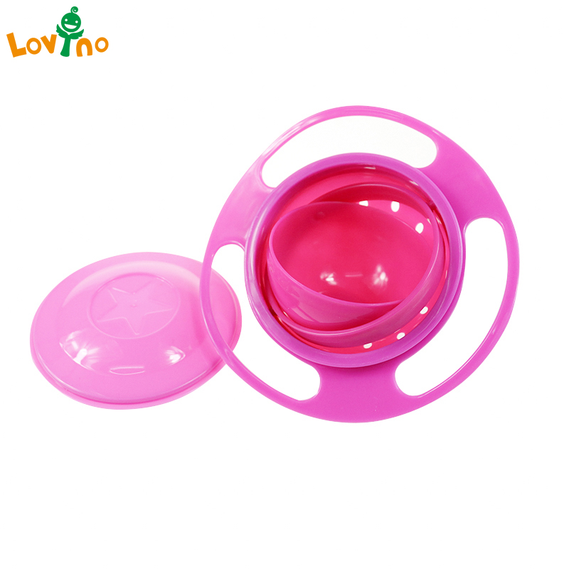 Baby Feeding Dish Cute Baby Gyro Bowl Universal 360 Rotate Spill-Proof Bowl Food-grade PP Dishes Children's Baby Tableware