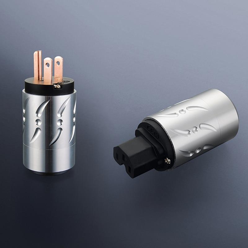 OEM Pure Copper US AC Power Cord Plug HIFI IEC Female Connector DIY Power Cable Plug