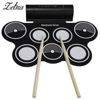 MD759 Beweglicher Roll Up Elektronische Trommeln Pad Kit USB MIDI Maschine Eingebaute Lautsprecher Schlaginstrumente mit Stick Drumstick