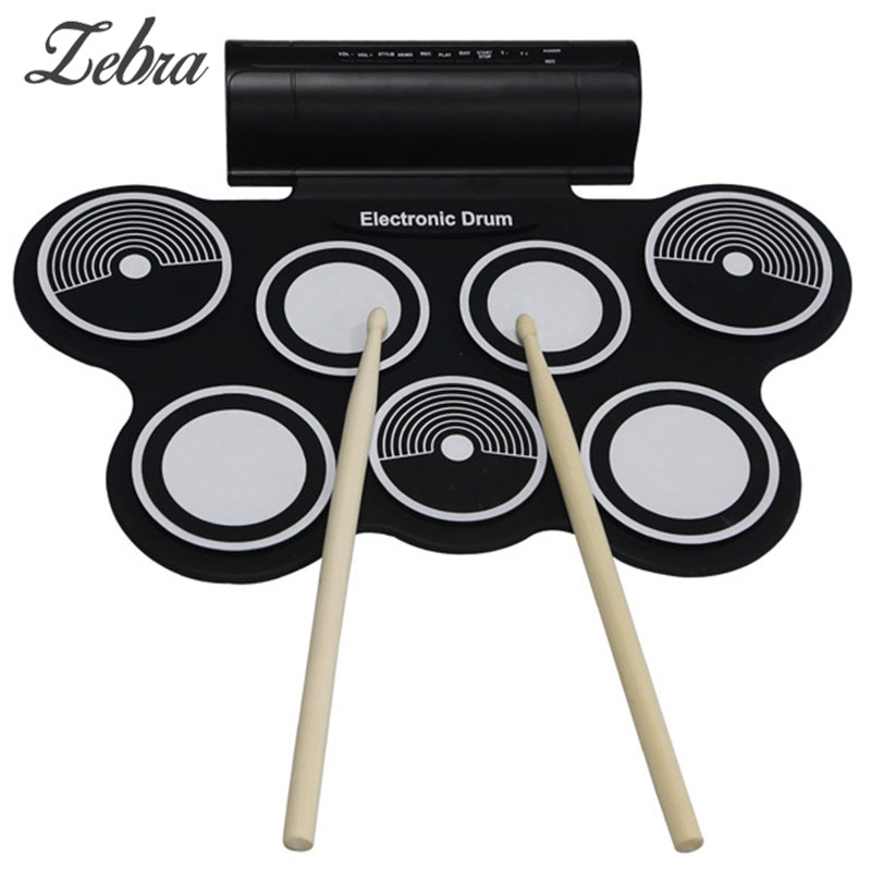 MD759 Portable Roll Up Electronic Drums Pad Kit USB MIDI Machine Built-in Speakers Percussion Instruments with Stick Drumstick 6pcs set 39x 27 5x2 5cm silica gel foldable portable roller up usb electronic drum kit 2 drum sticks 2 foot pedals