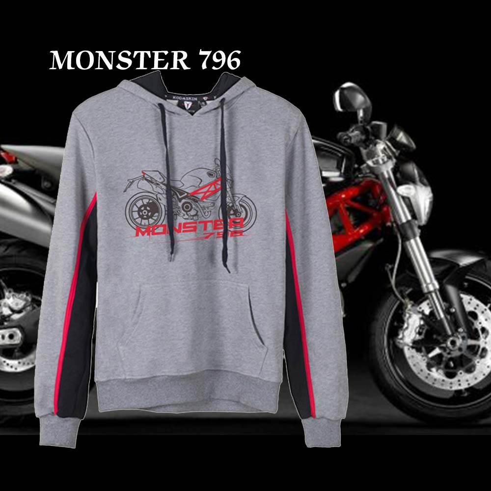 KODASKIN Men Cotton Round Neck Casual Printing Sweater Sweatershirt Hoodies for Monster 796 Monster796 in Shirts Tops from Automobiles Motorcycles