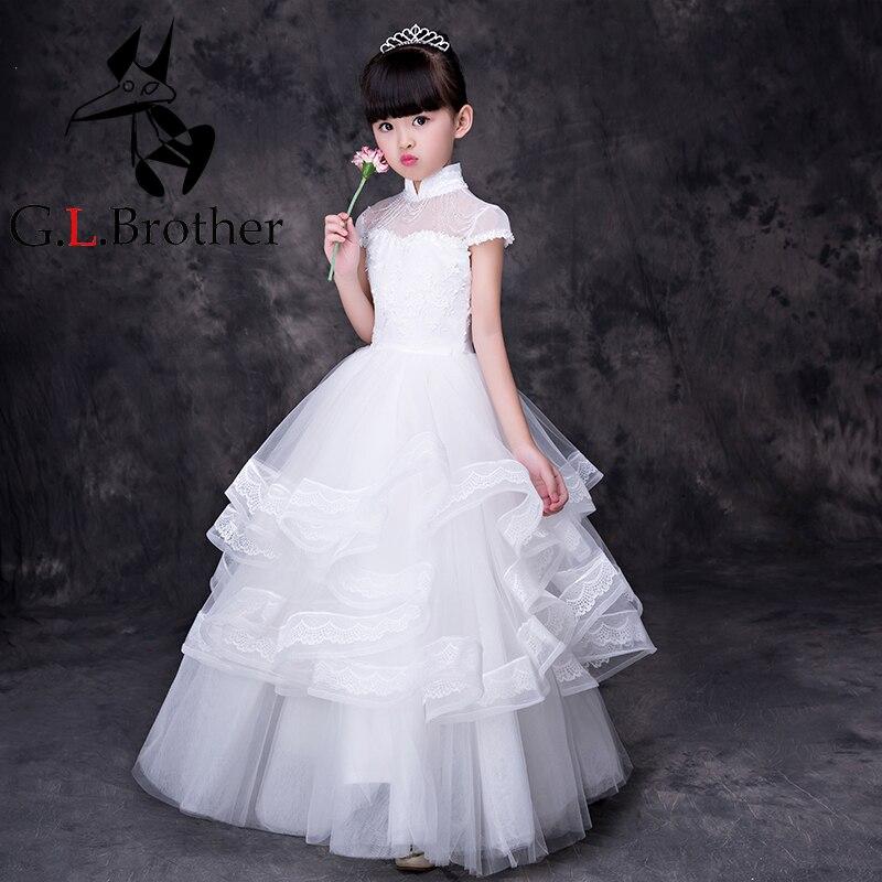 Белое кружевное платье принцессы пол Длина бальное платье праздничное платье для детей Вечеринка костюмы Платья для причастия для девочек