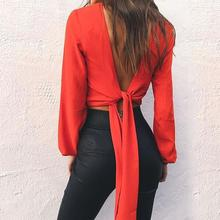 2017 Sexy Women Backless Deep V Neck Clubwear 2017 Summer Hollow Out Bowknot Lace Up Blouse Work Shirt Camisas Mujer WS2471O