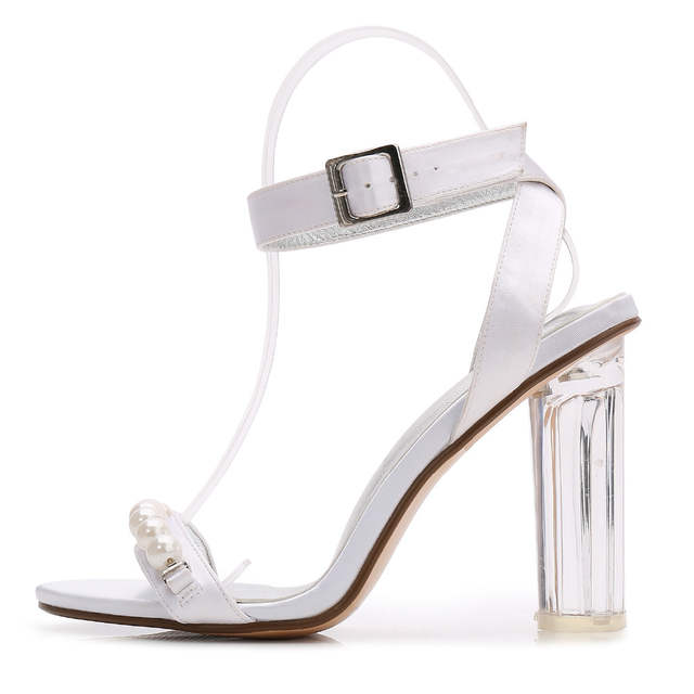 Online Shop Fashion clear block high heel lady satin dress sandals pearls  string ankle strap woman summer high heels wedding bridal shoes  759ce8356a2c